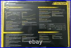 BNIB Corsair TX750M 750W 80 PLUS Gold Semi-Modular PSU Power Supply Sealed
