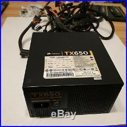 Corsair TX650W -ATX Power Supply SATA Molex alimentatore usato
